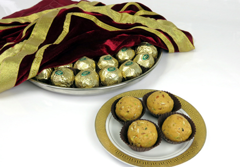 Gold Wrapped Besan Ladoo Platter